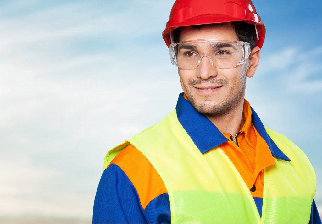 Worker in protective gear