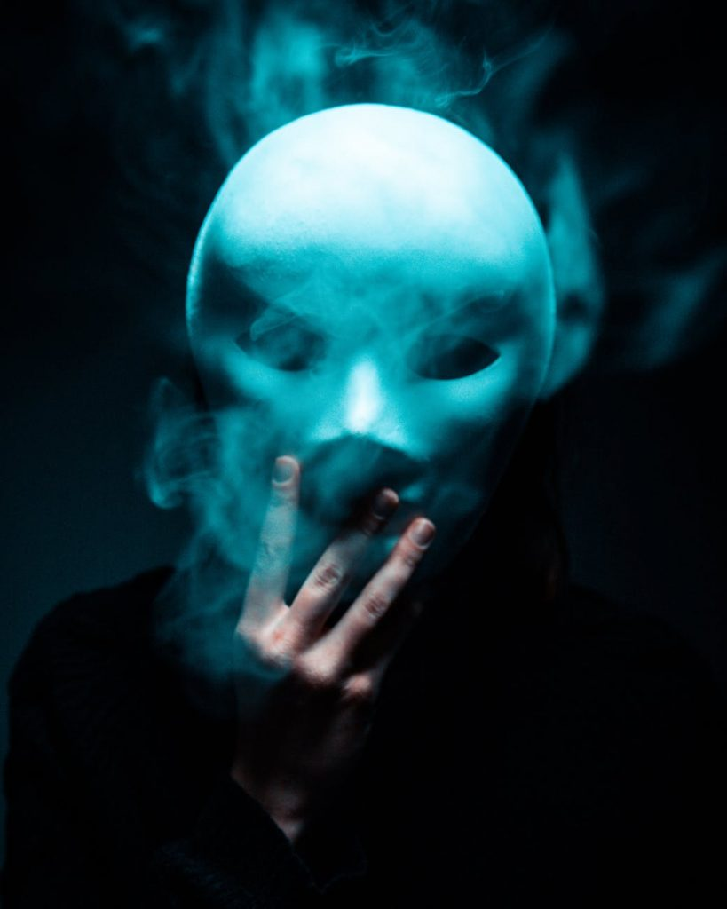 Mask with smoke coming out
