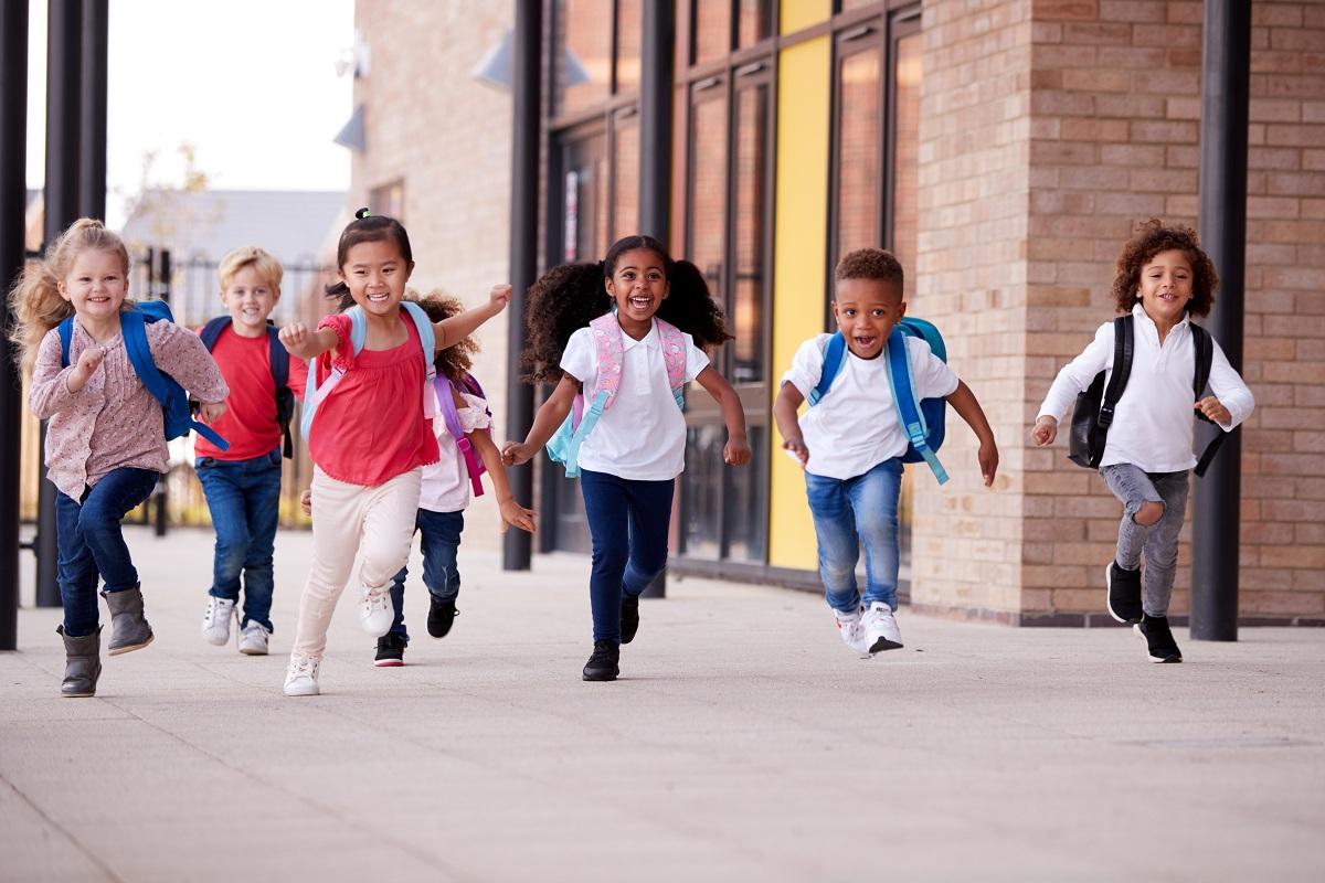 preschool kids running at school