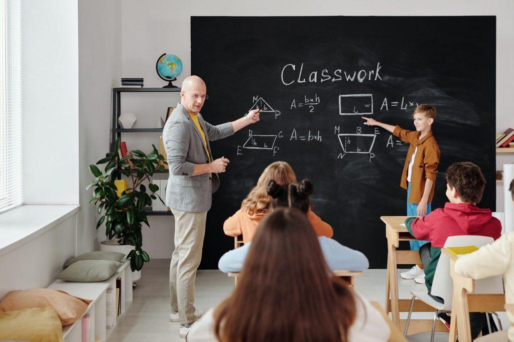 teacher discussing in class
