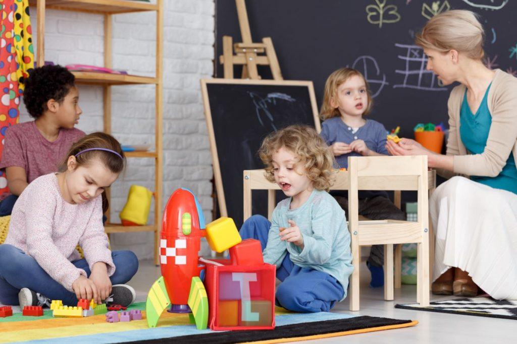 children playing classroom nursery